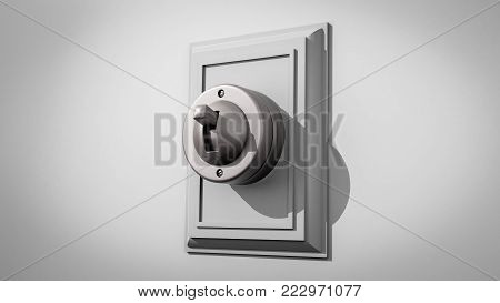 3D illustration of an old-fashioned ceramic light switch on a gray wall with the switch and backplate centered and facing left
