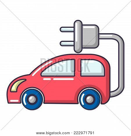 Electric car icon. Cartoon illustration of electric car vector icon for web.