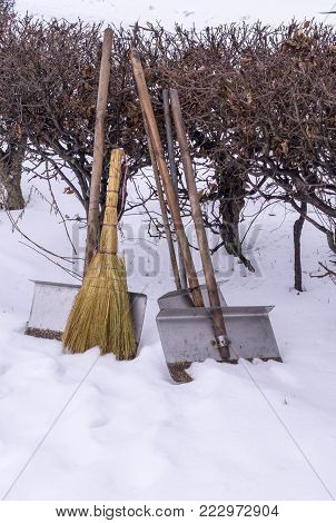 snow removal janitor equipment at wintertime. background.