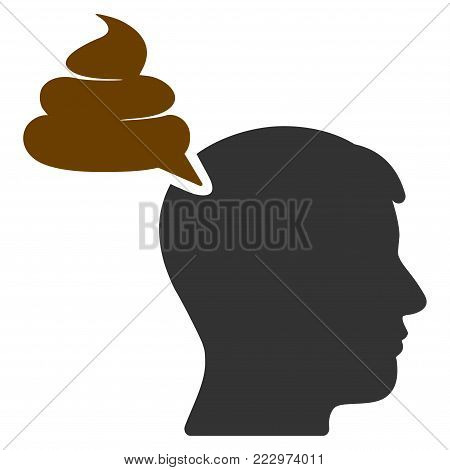 Crap Thinking Person flat vector icon. An isolated icon on a white background.