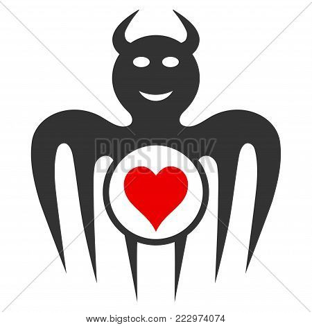 Gambling Happy Devil flat vector illustration. An isolated icon on a white background.