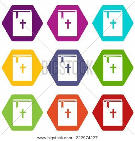 Bible icon set many color hexahedron isolated on white vector illustration