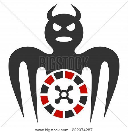 Roulette Spectre Devil flat vector illustration. An isolated icon on a white background.