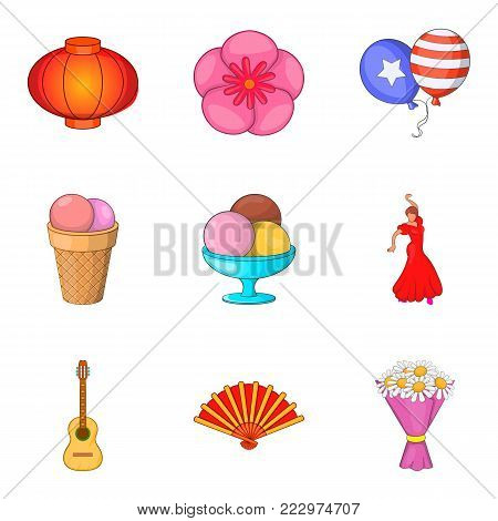 Superior performance icons set. Cartoon set of 9 superior performance vector icons for web isolated on white background