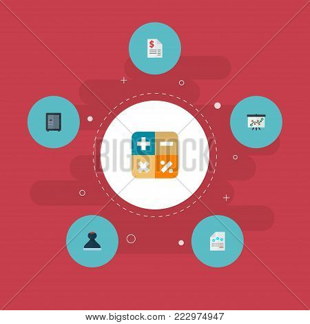 Set of accounting icons flat style symbols with math, balance sheet, tax and other icons for your web mobile app logo design.