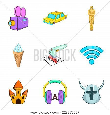 Historical film icons set. Cartoon set of 9 historical film vector icons for web isolated on white background