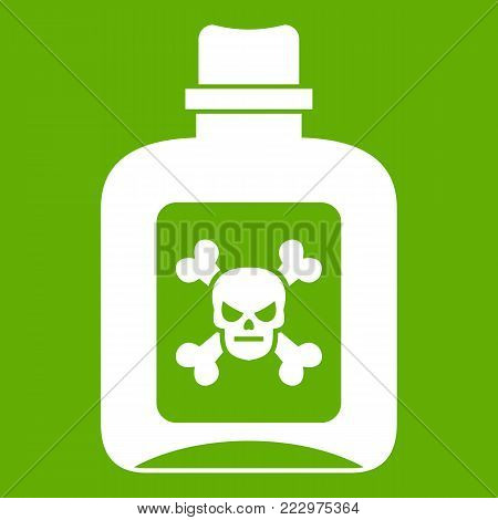 Poison icon white isolated on green background. Vector illustration