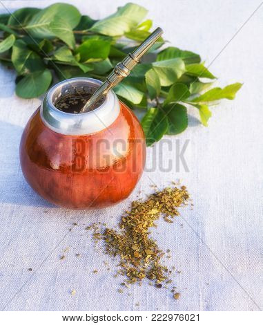 Traditional Latin America Yerba mate drink in gourd calabash with bombilla and leaves