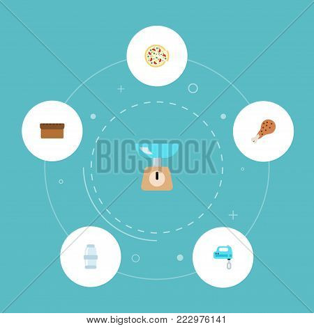 Set of food icons flat style symbols with bread, salt, mixer and other icons for your web mobile app logo design.