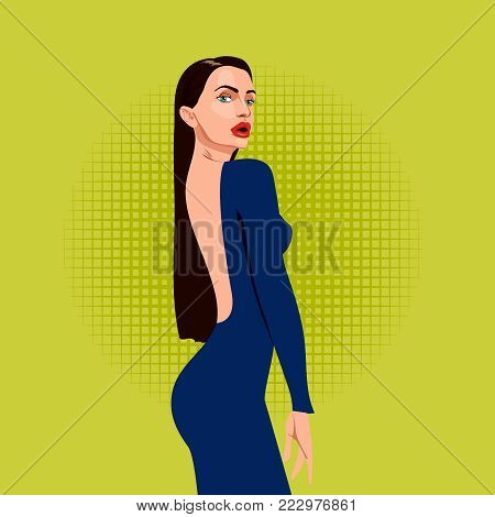 beautiful woman with long hair and red lips in open evening dress from the back, vector