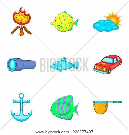 Marine life icons set. Cartoon set of 9 marine life vector icons for web isolated on white background