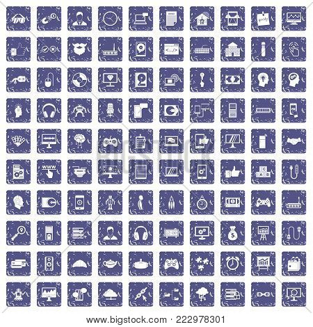 100 programmer icons set in grunge style sapphire color isolated on white background vector illustration