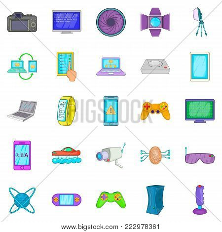 Electric parts icons set. Cartoon set of 25 electric parts vector icons for web isolated on white background
