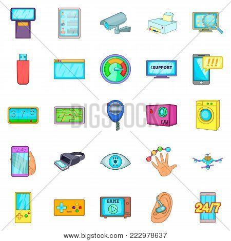 Fix the electronics icons set. Cartoon set of 25 fix the electronics vector icons for web isolated on white background