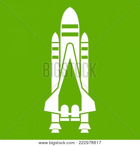 Space shuttle icon white isolated on green background. Vector illustration