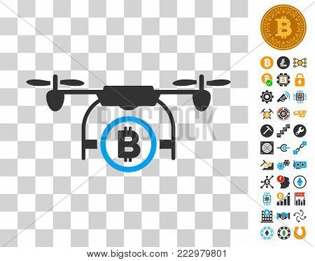 Bitcoin Airdrone icon with bonus bitcoin mining and blockchain images. Vector illustration style is flat iconic symbols. Designed for bitcoin apps. poster