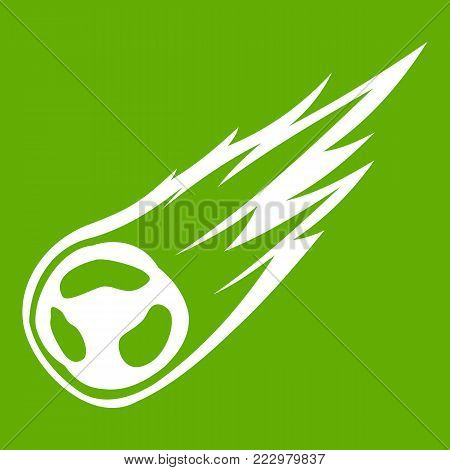Falling meteor with long tail icon white isolated on green background. Vector illustration