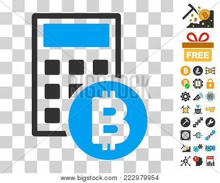 Bitcoin Calculator icon with bonus bitcoin mining and blockchain images. Vector illustration style is flat iconic symbols. Designed for blockchain websites.