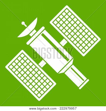 Space satellite icon white isolated on green background. Vector illustration