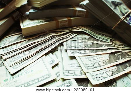 Stock Market Trading Profits Close Up With Twenties & Hundreds High Quality Stock Photo