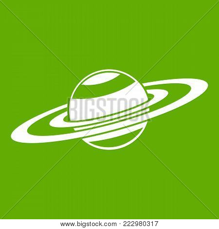 Saturn rings icon white isolated on green background. Vector illustration