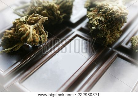 Chocolate Marijuana Edible With Bud On Top High Quality Stock Photo