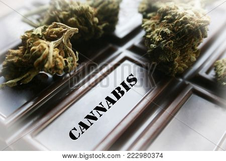 Medical Marijuana Chocolate Edible With Bud High Quality Stock Photo