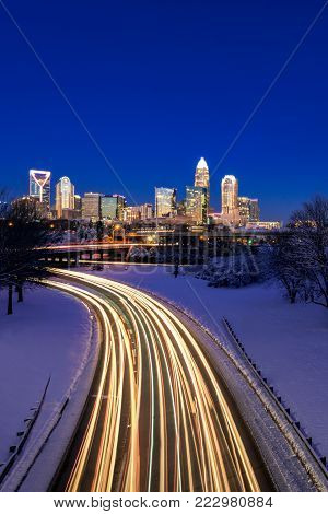 This long exposure shot was taken early in the morning during the blue hour in Charlotte, North Carolina.