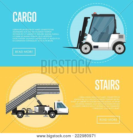 Passenger airport flyers with passenger ladder and fright forklift. Aviation terminal logistics and infrastructure management, commercial airline advertising with ground technics vector illustration.