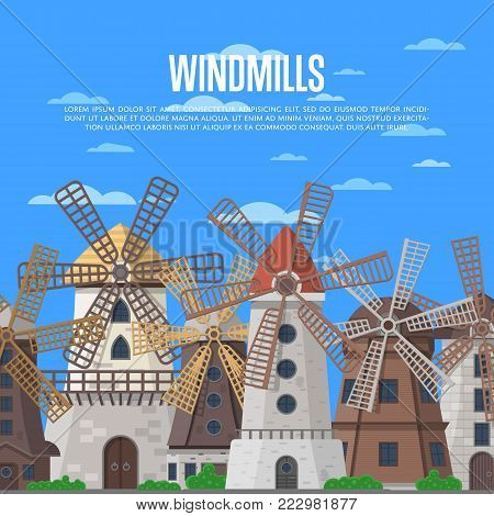 Medieval windmills buildings on cloudy blue sky background. European tourist attraction vector illustration. Clean wind energy, organic agricultural production, ecological food manufacturing concept