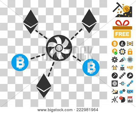 Cryptocurrency Blender Rotor pictograph with bonus bitcoin mining and blockchain graphic icons. Vector illustration style is flat iconic symbols. Designed for cryptocurrency ui toolbars.