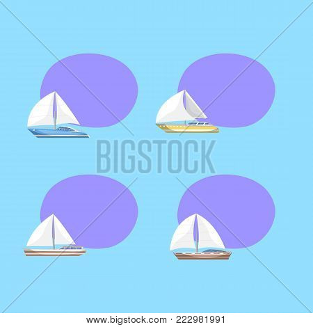 Sport sail yachts isolated labels with space for text. Luxury and speedy sailfishes vector illustration. Marine passenger cruise ships, worldwide yachting, sailboat race advertising tags.