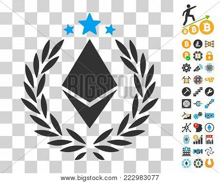 Ethereum Laurel Wreath pictograph with bonus bitcoin mining and blockchain pictures. Vector illustration style is flat iconic symbols. Designed for crypto-currency websites.