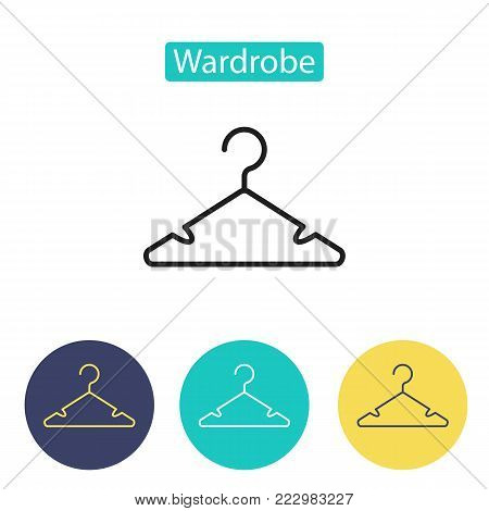 Hanger icon isolated on white background. Closet, cloakroom sign. Public Navigation symbol for info graphics, websites and print media. Line style design image. Editable stroke. Vector illustration.