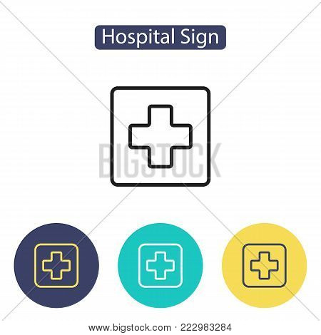 Medical cross sign. Hospital icon. Public Navigation symbol for info graphics, websites and print media. Line style design image. Editable stroke. Vector illustration.