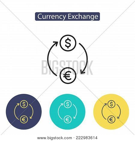 Exchange icon. Money circulation, currency exchange sign isolated on white background. Symbol for info graphics, websites and print media. Line style image. Editable stroke. Vector illustration.