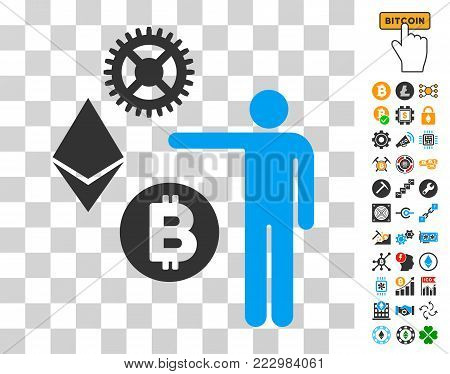 Person Show Cryptocurrency pictograph with bonus bitcoin mining and blockchain icons. Vector illustration style is flat iconic symbols. Designed for cryptocurrency websites.