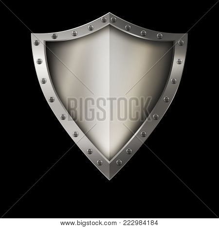 Medieval shield with chrome riveted border on black background.