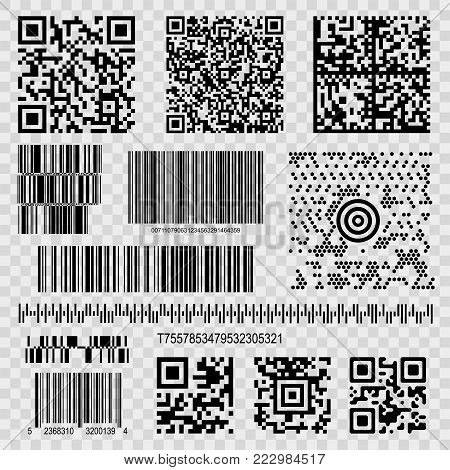 Barcodes and qr codes. Set of machine-readable optical labels with information, quick response code to read with mobile phone. Vector flat style cartoon illustration
