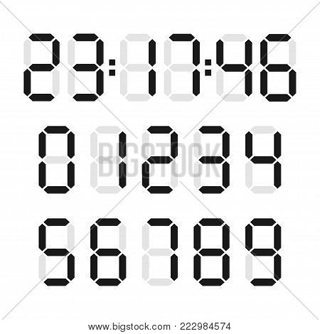 Digital number set. Display with numeral system black characters, led displays on calculators or alarm clocks. Vector flat style cartoon illustration isolated on white background