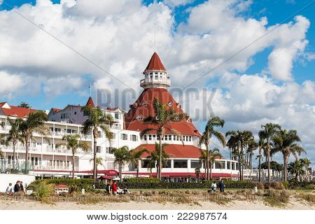 CORONADO, CALIFORNIA - JANUARY 20, 2018:  The Hotel Del Coronado, with its signature red turret, a landmark hotel in the San Diego area built in 1888.