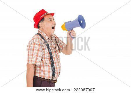 Asian Senior Man Holding With Megaphone
