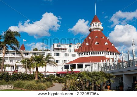 CORONADO, CALIFORNIA - JANUARY 20, 2018:  The main building of the iconic Hotel del Coronado, a historic beachfront hotel built in 1888 and formerly the largest resort hotel in the world.