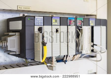 Programmable Logic Controller PLC comprised of analog and digital input and output with power supply and processor module this being used in oil and gas control process.