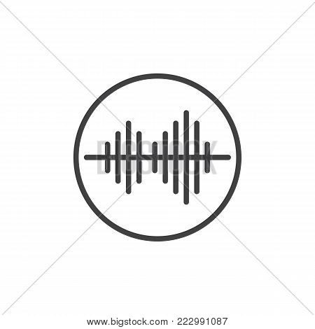 Soundwave line icon, outline vector sign, linear style pictogram isolated on white. Audio sound wave symbol, logo illustration. Editable stroke