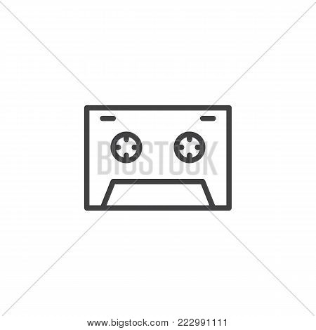Cassette tape line icon, outline vector sign, linear style pictogram isolated on white. Audio cassette symbol, logo illustration. Editable stroke