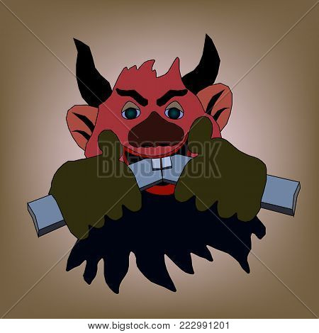 Devil with horns gnaws the wooden stick on a light background