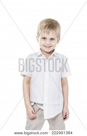portrait of a five year old boy.happy childhood.the photo has a blank space for text