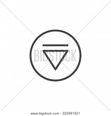 Eject media player button line icon, outline vector sign, linear style pictogram isolated on white. Symbol, logo illustration. Editable stroke