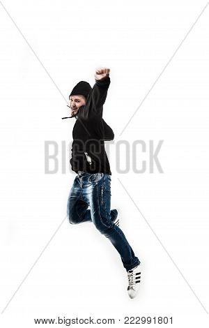 energetic and charismatic guy rapper dances break dance.the photo has a empty space for your text